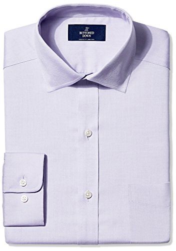 BUTTONED DOWN Men's Classic Fit Spread-Collar Non-Iron Dress Shirt (Pocket), Purple, 18.5
