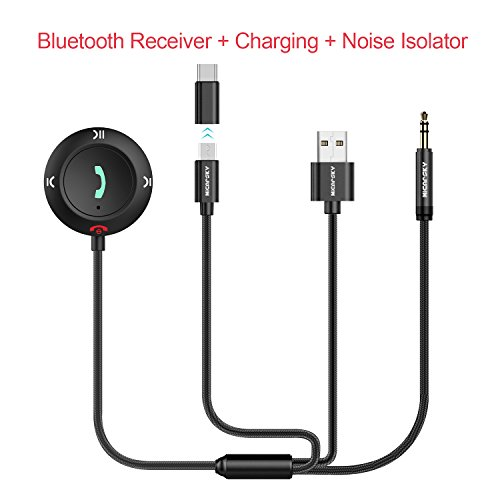 Micarsky Bluetooth Car Kit with Micro USB and Type C Port Charging for Android Phone & Ground Loop Noise Isolator & Hands-Free call, Bluetooth 4.2 Receiver aux Adapter for Car/Home Audio System