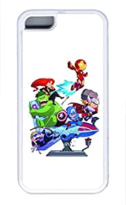 iPhone 4 4s Case, iPhone 4 4s Cases - Ultra Slim Fit Soft White Case Cover for iPhone 4 4s Cartoon Avengers Shock-Absorption Rubber Case Bumper for iPhone 4 4s