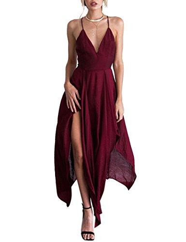 Vestito Da Bordeaux Sexy Profondo Incrociate V Donne Asimmetrica Criss Delle Yiwa Spalline Scollo A Partito 7wPxqpF