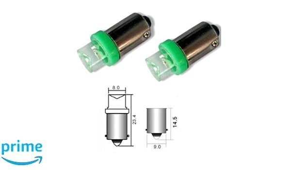 B9G - Verde SMD LED lámpara bombilla de repuesto luces de posición T4W BA9S 12V Numero de luz de la placa Interior de luz del coche (Invertida): Amazon.es: ...