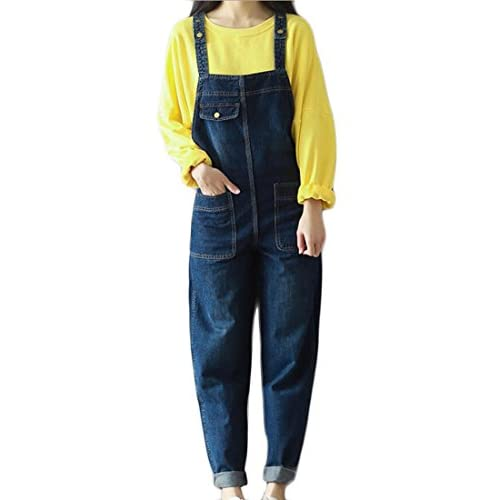 ainr Womens Blue Denim Distressed Raw Scratch Style Tapered Leg Overalls supplier