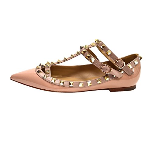 Kaitlyn Pan - Spitzverzierte Strappy Caged Ballerina Leather Flats Nude Patent / Nude Straps / Gold Ohrstecker