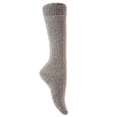 Lian LifeStyle Big Girls' Women's 3 Pairs Knee High Wool Socks Size 7-9 (Gray)