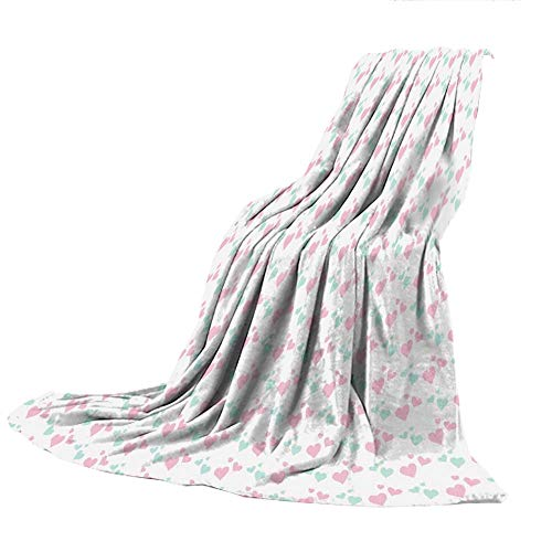 SCOCICI Creative Flannel Printed Blanket for Warm Bedroom,Kids,Girls Room Inspired Image of Cartoon Hearts Romantic Love Design,Light Pink Mint Green and White,47.25