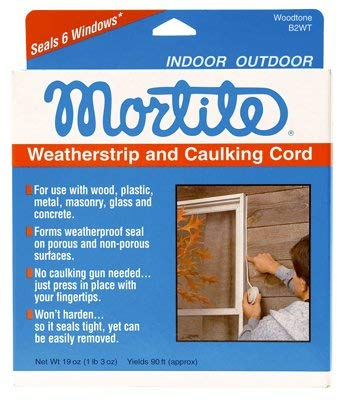 Mortite B2WT 90' ft 19 oz Roll Woodtone Caulking Cord Weatherstrip - Quantity 6 by Mortite