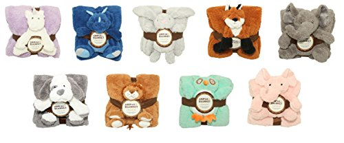 SILVER ONE Sherpa Plush Stuffed Animal and Throw Blanket 2 Peice Gift Set for Kids/Children | 50'' x 60'' Soft Plush Throw (Teal Owl, 50'' x 60'') by SILVER ONE (Image #3)