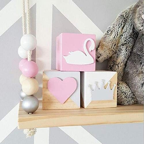 Ochoos C 3個セット オリジナル松材ブロック おもちゃ 白鳥の王冠 ハート 木製 装飾 赤ちゃん 子供部屋 女の子 写真 小道具 オーナメント OCH-7763C4B79654E170B8488D2899886ED0 B07NSDYD2B  3
