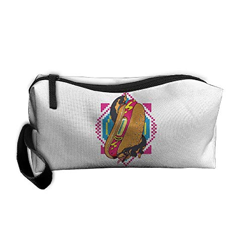 Cosmetic Bags With Zipper Makeup Bag Creative Hot Dog Middle Wallet Hangbag Wristlet Holder -
