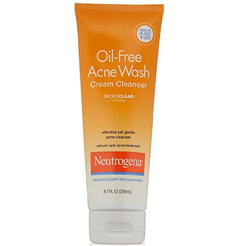 Neutrogena Oil-Free Acne Face Wash Cream Cleanser with Salicylic Acid, Non-Comedogenic Acne-Prone Skin Cleanser, 6.7 fl. oz
