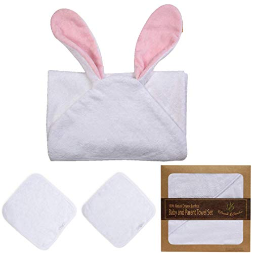 Cashmere Tub - Bambi Bamboo Baby Hooded Towel & 2 Washcloth Family Set (Rosie Bunny) | Cashmere Soft 4X More Absorbent| Antibacterial,Hypoallergenic | Great Shower Gift Baby Registry
