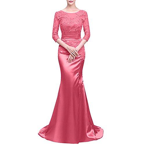 Wassermelon Damen Satin Ballkleider Meerjungfrau Abschlussballkleider Charmant mit Partykleider Abendkleider Langarm zdqAxAUwO