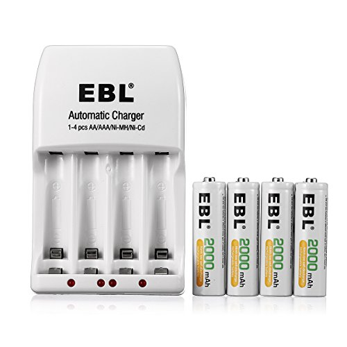 EBL 4 Pack AA 2000mAh Ni-MH Rechargeable Batteries with 4 ...