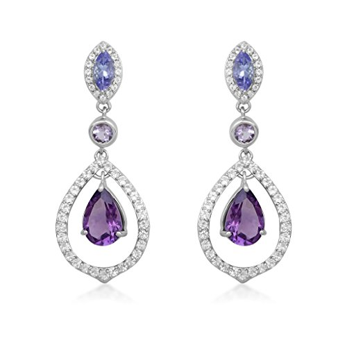 Jewelili Sterling Silver Marquise Tanzanite, Pear and Round Amethyst alongwith Round White Topaz Dangle Earrings in Shades of Purple with 1.5mm Round Emerald set on side, NEW