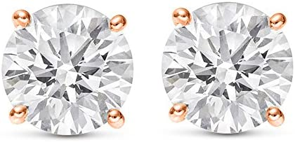 1-3 Carat 18K White Gold GIA Certified Round Cut Diamond Earrings 4 Prong Push Back Luxury Collection (D-E Color, VS1-VS2 Clarity)