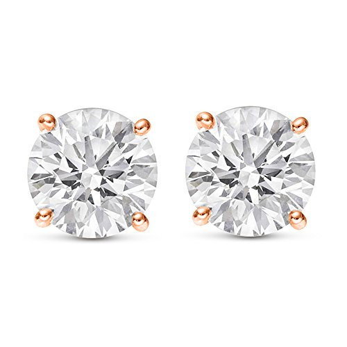 (1 Carat Total Weight White Round Diamond Solitaire Stud Earrings Pair set in 14K Rose Gold 4 Prong Push Back (H-I Color I2 Clarity))