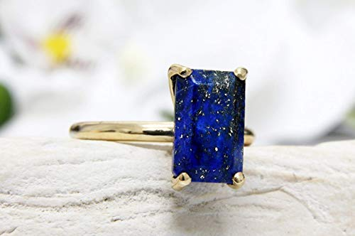 Anemone Unique Rectangular Gold Ring - 11Mm/7Mm Lapis Lazuli Ring For Cocktails, Anniversaries, Birthdays, Weddings - With Free Fancy Jewelry Box [Handmade Jewelry]