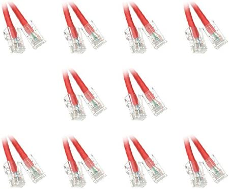 Pack of 5 10-Feet Cat6 Red Ethernet Patch Cable Bootless CNE14754