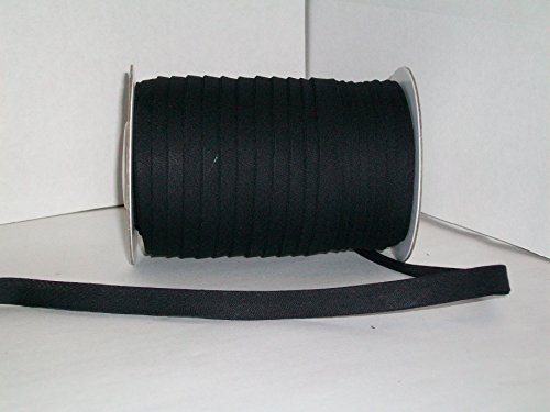 Black Double Fold Bias Tape 50 Yds. 1/2 Inch by MJ's Crafts & More