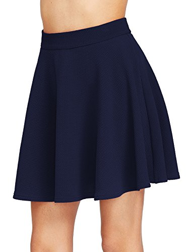 Back Skirt A-line Zip (Milumia Women's Zip Back Textured Skater Skirt (X-Small, Navy))