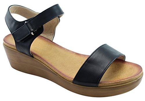 Cambridge Selezionare Donna Open Toe Single Band Velcro Alla Caviglia Strappy Basso Mid Piattaforma Grosso Sandalo Con Zeppa Nero