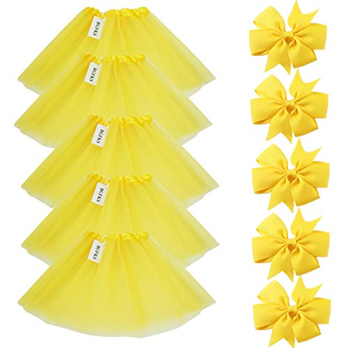 BGFKS 5 Pack Tutu Skirt for Girl Ballet Dance Costume Dress up Princess Party Girl Tutus with Butterfly Headdress 12 Colors Age 2-8(Yellow) -