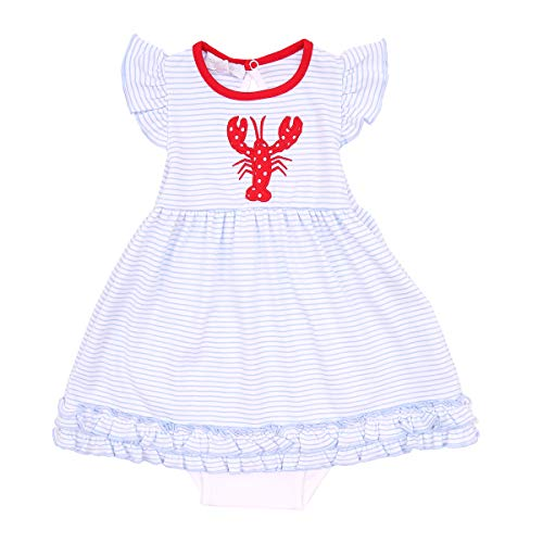Magnolia Baby Unisex Baby Snappy The Lobster Applique Dress Set Red Newborn ()