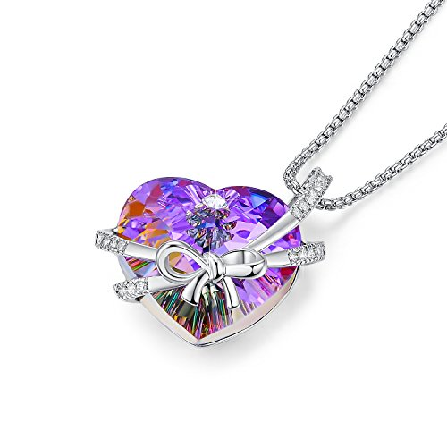 NEWNOVE Heart Pendant Necklaces for Women Made with Swarovski Crystals (C_Bowknot)