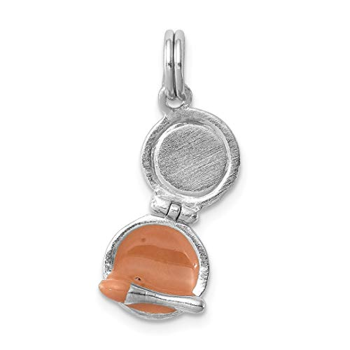 925 Sterling Silver Enamel Compact Makeup Mirror Pendant Charm Necklace Fine Jewelry Gifts For Women For Her
