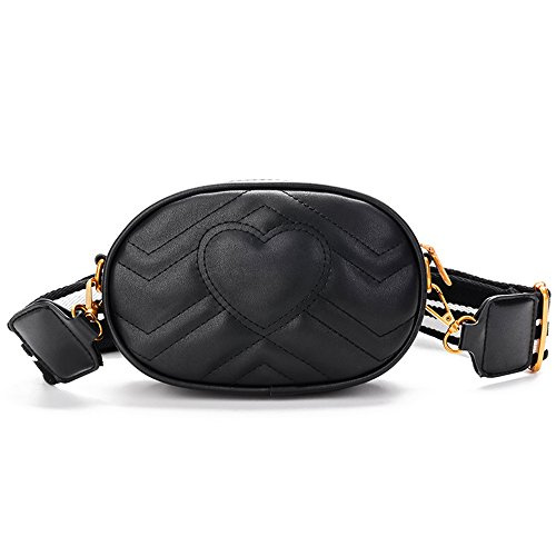 Price comparison product image Herald Fashion Elegant Quilted Leather Fanny Pack Classy Wasit Bag with Two Belts