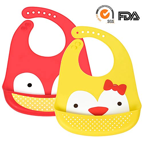 Lucky Monet 2 Pack Food Grade Silicone Baby bibs Waterproof Feeding Bib with Adjustable Snaps Soft Lightweight for Babies and Toddlers, Cartoon Design, BPA Free (Red Fox/Yellow Chicken)