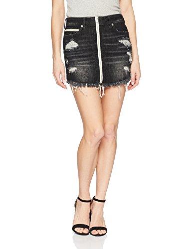(True Religion Women's High Rise Skirt with Zip Front, Garter Black M)