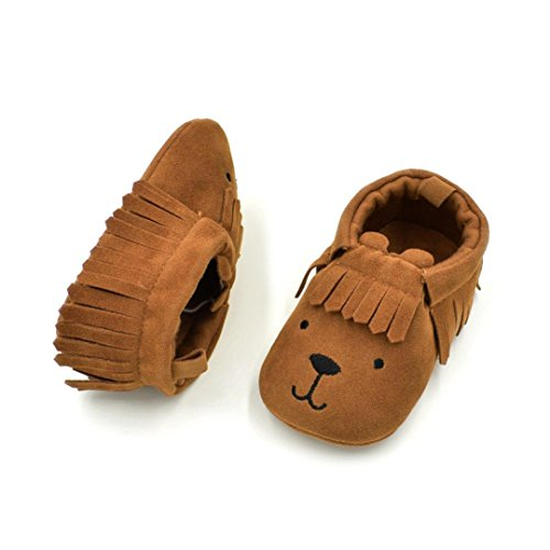 Clode® Neugeborenes Baby Kleinkind Kleinkinder Mädchen Jungen Schuh Bär Tassle Soft Anti Rutsch Schuhe Braun