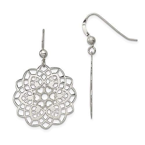 925 Sterling Silver Textured Flower Drop Dangle Chandelier Earrings Gardening Fine Jewelry Gifts For Women For Her ()