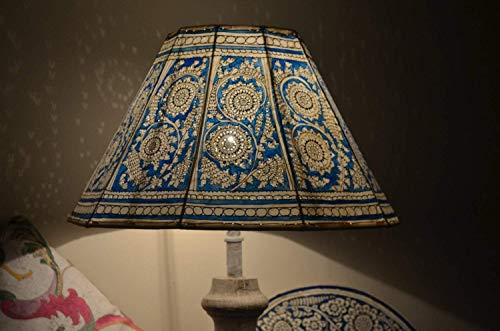 Monsoon Inspired Floor Lampshade, Hand Painted Leather Lamps