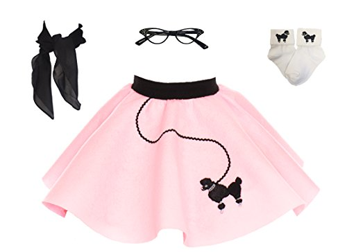 Hip Hop 50s Shop Toddler 4 Piece Poodle Skirt Costume Set Light Pink -