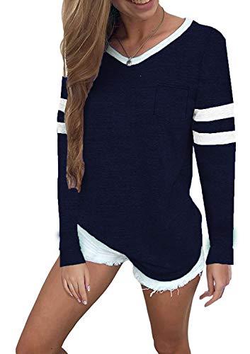 Women's Casual V Neck Sport T Shirt Long Sleeve Baseball Tee Shirt Tops ()