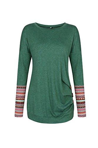 Pulls Vert1 Jumpers Mode Femmes Longues Rond Printemps Shirt Hauts Fr Casual Shirts Slim Tops T Chemisiers et Automne Col Sweat Fox ulein Manches wqWWAR1B