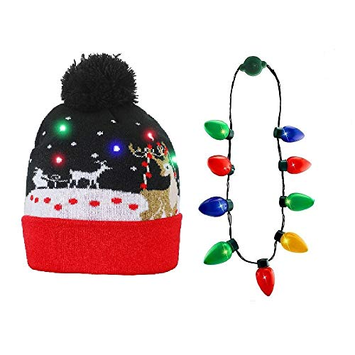 NEARTOP Christmas Xmas Light Up Bulb Necklace + Reindeer Flashing Beanie Hat for Christmas Decorations (Reindeer Up Christmas Light)