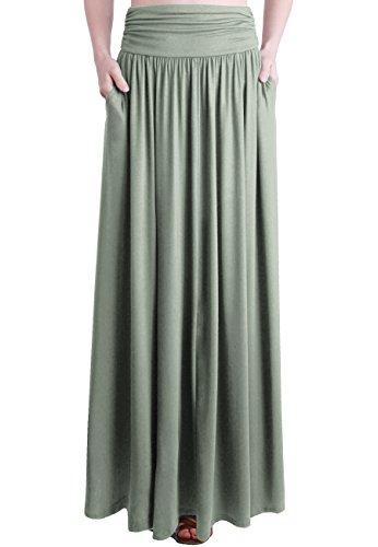Stretch Waist Skirt - TRENDY UNITED Women's Rayon Spandex High Waist Shirring Maxi Skirt with Pockets (DGRN, XX-Large)