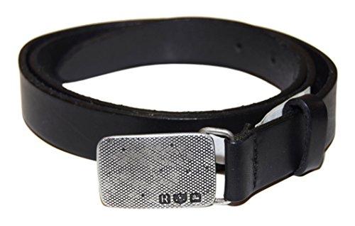 Polo Ralph Lauren Mens Leather Vintage Distressed Belt Silver Buckle Black (Ralph Lauren Belted Belt)