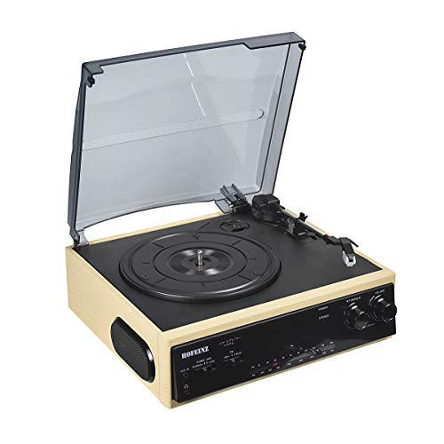 HOFEINZ Vintage Bluetooth Out Wooden Belt Driven Turntable with 3 Speed Built in Stereo Speakers AM/FM Radio