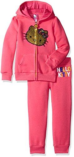 Hello Kitty Big Girls' 2 Piece Hooded Fleece Active Set, Pink 85692, 7