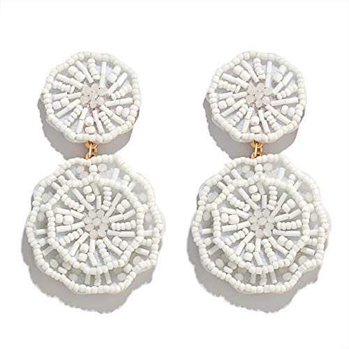(HSWE Statement Beaded Drop Earrings for Women Handmade Seed Bead Earrings Layered Dangle Earrings Boho Round Earrings Gift for Ladies (White))