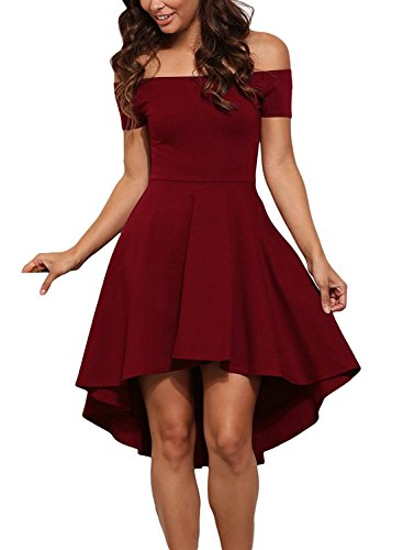 Skater Party Prom Short Dress Sleeve Women Shoulder Dress High Swing Low Off BoBoMo CP4xvqtw0P