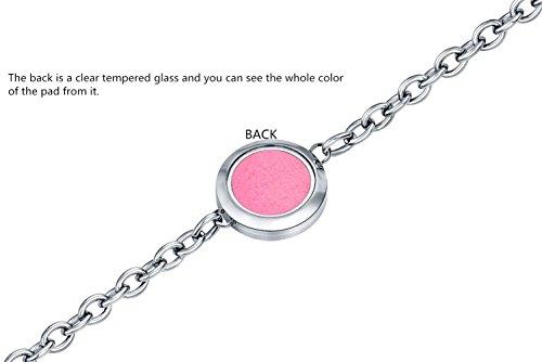 Essential Oil Bracelet, ss shovan Aromatherapy Essential Oil Diffuser Locket Bracelet Stainless Steel Chain Jewelry + 6 Refill Pads