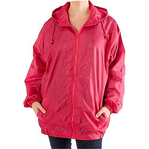 Chaqueta dibujos abrigo con With impermeable para capucha forro unisex Pink sin Bag lluvia adultos de sin qgRrqY