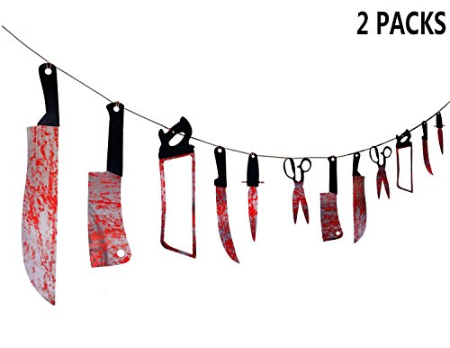 Moon Boat 24PCS Bloody Weapons Garland Props - Halloween Zombie Vampire Party Decorations Supplies]()