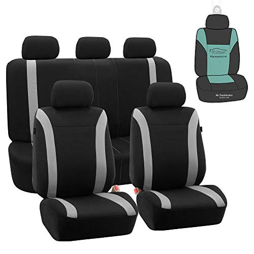 FH Group FB054115 Cosmopolitan Flat Cloth Full Set Car Seat Covers, (Airbag Compatible & Split Bench) w Gift, Gray/Black Color -Fit Most Car, Truck, SUV, or Van (Spurs Car Seat Covers)