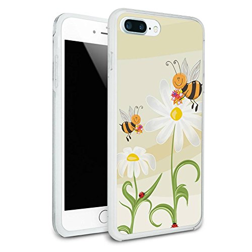 Bumble Bees and Ladybugs on Daisies - Flowers Protective Slim Hybrid Rubber Bumper Case for Apple iPhone 7 or iPhone 7+ Plus - iPhone 7 Plus (fits larger Plus model only)